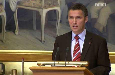 """Stoltenberg nevnte ikke den russiske tråleren """"Elektron"""" direkte, men lovet å styrke arbeidet med å hevde norsk suverenitet i nord (Foto NRK)"""