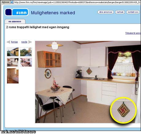 Nazist avslørt av boligannonse: Husk å sjekke gryteklutene før du tar bilde og legger ut leiligheten for salg.