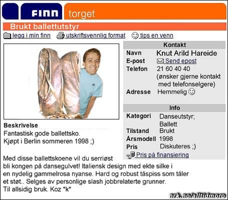 Hareide med desperat salg av upassende artikler som følge av homserykter. (Innsendt av Makken Fossheim)