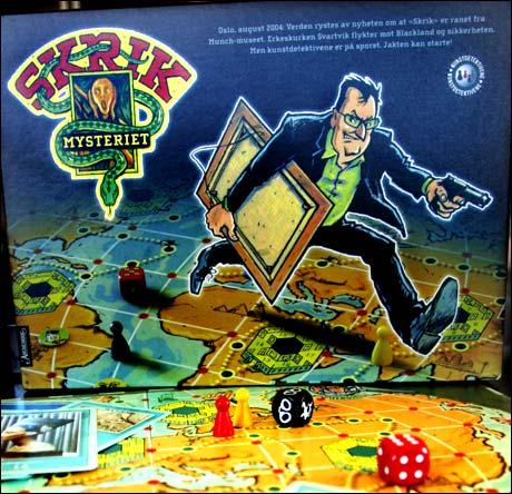 """Teksten på brettspillet som nå er i salg: """"Oslo, august 2004: Verden rystes av nyheten om at """"Skrik"""" er ranet fra Munchmuseet. Erkeskurken Svartvik flykter..."""" (Foto: Scanpix)"""