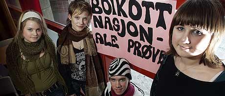 BOIKOTT: Mange elevar boikotta dei nasjonale prøvene tidlegare i år. Dette skuleåret blir det ingen slike prøver. (Illustrasjonsfoto: Gorm Kallestad/Scanpix)