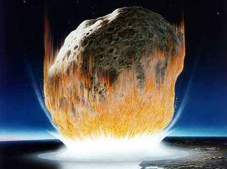 Jorda vert treft av ein stor asteroide. Illustrasjon: NASA