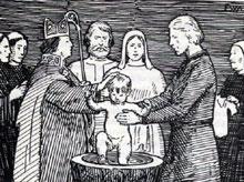 Olav blei røva som treåring. Her er han i følgje Snorre fadder til Olav den hellige då han var døypt som treåring. Men det er ikkje historisk riktig. Ill.: Frå Snorre