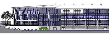 Skisse for fasaden mot nord på nye Brann Stadion. Grafikk: Stor-Bergen Boligbyggelag