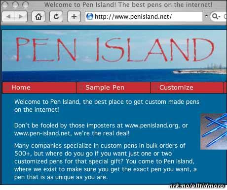 PenisLand eller Pen Island? Dette nettstedet ser ut til å selge penner. (www.penisland.net)