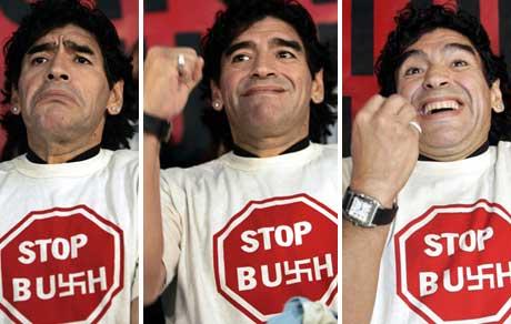 FOTBALLEGENDE PROTESTERER: Også Argentinas fotballegende Diego Maradona deltar i protestene mot USAs president George W. Bush i Mar del Plata i Argentina. (Foto: Reuters)