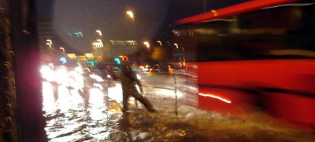 I dag har det regnet kraftig i Bergen. Foto: Linda Eide, NRK