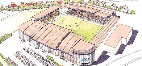 """Ny stadion med arbeidstittel """"Grenland Arena"""" (Illustrasjon Odd Grenland)"""