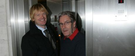 Klubbleder Jarle M. Marøy og Davy Wathne i natt. Foto: Morten Holm/Scanpix