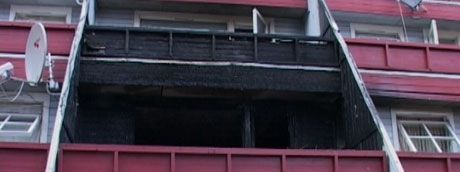 En av de totalskadde leilighetene. Foto: Gordon Fjell