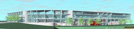 Skisse for nye Brann Stadion. Illustrasjon: Arkitektkontoret Vaardal-Lunde AS.