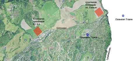 SV foreslår flere alternative ambassade-tomter i Bærum.