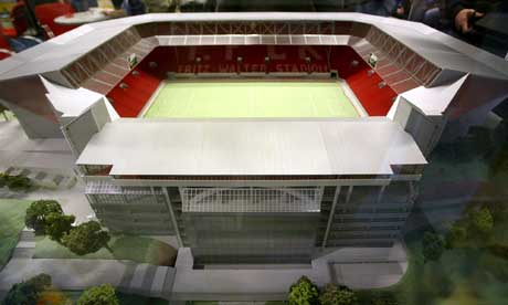 En modell av den nyrenoverte Fritz-Walter-Stadion. (Foto: AP/Scanpix)