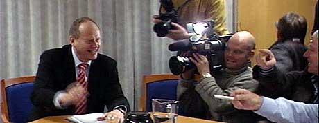 President i Redningsselskapet, Magnus Stangeland, var i godt humør da sentralstyretmøtet startet tirsdag formiddag