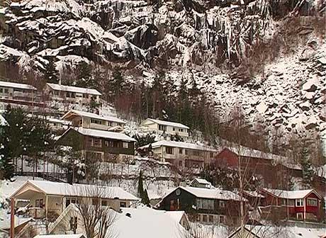 Det rasutsette området. Foto: Arne Eithun, NRK