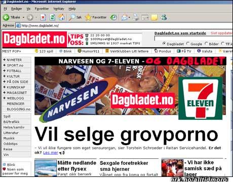 Dagbladet roper opp om andres pornografi, men har nok litt lyst selv også. (Alltid Moro)