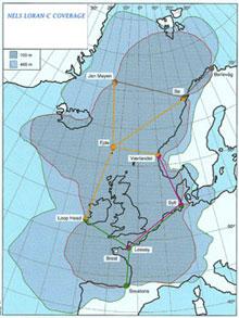 Loran-C dekker store deler av Nord-Atlanteren.