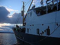 båten går ut mens dagen tar kveld. Foto Andreas Toft.