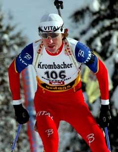 Frode Andresen tok sin andre seier i år i Anterselva. (Foto: AFP/Scanpix)
