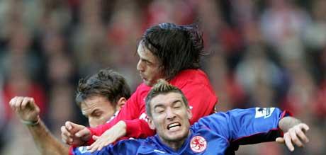 Fernando Morientes scoret begge målene da Liverpool slo Middlesbrough lørdag. (Foto: AP Foto/ SCANPIX)