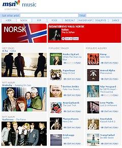 MSN satser på norsk musikk.