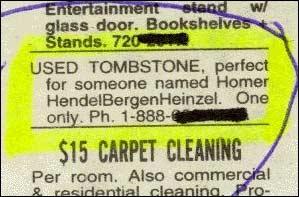 (Brukt gravstein selges. Perfekt for noen som heter Homer HendelBergenHeinzen. Kun 1 stk.)