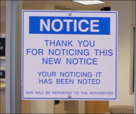 (Takk for at du tok notis av denne nye notisen. At du tok notis er nå notert. Og vil bli rapportert til myndighetene)