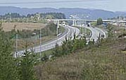 E 18 i Sande, slik delegasjonen vil ha veien gjennom hele Vestfold. Foto: Rune Christoffer Holm, NRK.