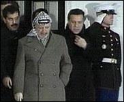 Yasir Arafat forlater Det hvite hus tidligere i dag. (Foto:EBU)