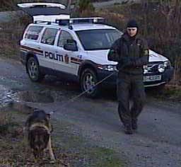 Politiet søkte med hunder etter den savnede lillesandskvinnen (foto: NRK)