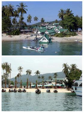 Livet er i ferd med å vende tilbake til det normale etter tsunami-katastrofen. Her er øya Phi Phi rett etter tsunamien (bildet øverst) og nesten et år etter, 14. desember 2005. (Foto: Saeed Khan/Roslan Rahman/AFP/Scanpix)