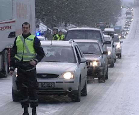 Trafikkulykken førte til lange køer i en periode.