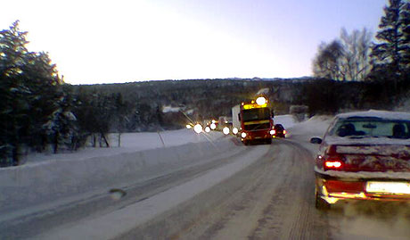 Ulykka skjedde nord for Berkåk. MMS-foto: NRK Trøndelag.