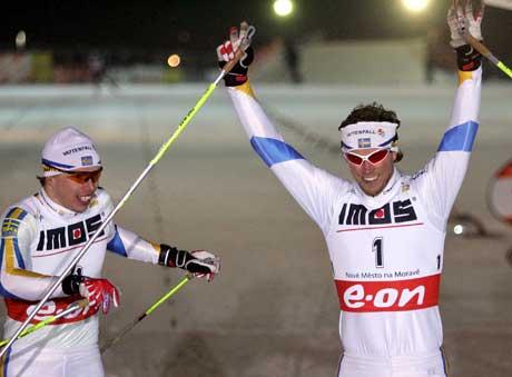 Björn Lind (t.h.) vant foran landsmannen Peter Larsson. (Foto: AP/Scanpix)