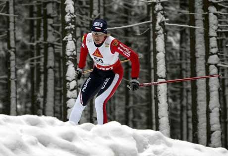 Katerina Neumannova på vei til seier på hjemmebane i Nove Mesto. (Foto: Reuters/Scanpix)