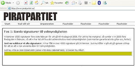 Det svenske Piratpartiet ønsker at fildelere ikke skal kunne kalles kriminelle. Faksimile: Piratpartiet.se.