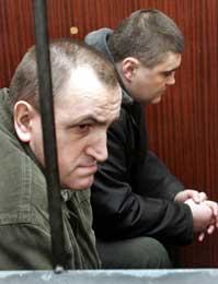 Valerij Kostenko og Mykola Protasov (t.v.)er tiltalt (Scanpix/AFP)