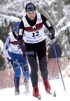 Ella Gjømle på vei til tredjeplass på sprinten i Estland. (Foto: AP/Scanpix)