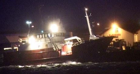 Uværet rusket godt langs kysten. Dette bildet ble tatt i Rørvik. Foto: NRK.