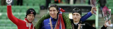 Enrico Fabris ble verdensmester, mens Eskil Ervik tok sølv og Håvard Bøkko bronse.. (Foto: APF/ SCANPIX)