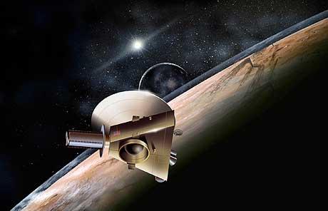 MARS: Slik kan de se ut når sonden ankommer Pluto om ni år. (Illustrasjon: NASA/AFP/Scanpix)