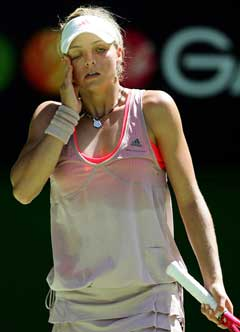 Maria Kirilenko led i varmen under kampen mot Lindsay Davenport. (Foto: AP/Scanpix)