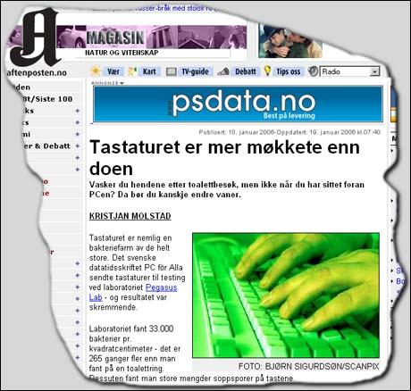 Aftenposten meldte denne uken at PC-tastaturer er en bakteriebombe.