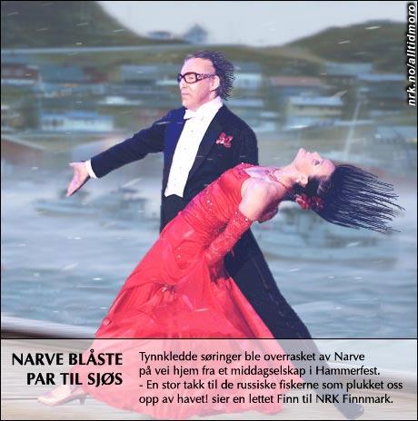 """Også deltagere i TV2s program """"Skal vi danse"""" fikk merke stormen i går kveld. (Innsendt av A. J. Bovolden)"""