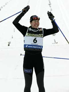 Ella Gjømle jublet da hun tok sin første verdenscupseier. (Foto: AP/Scanpix)
