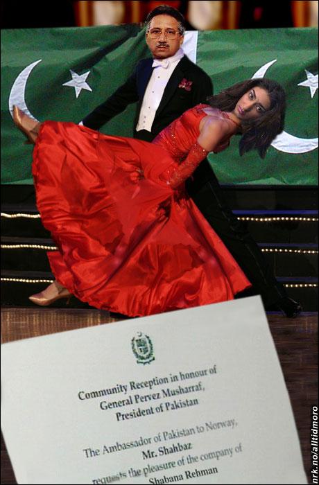 Pakistans president Pervez Musharraf prøvde spøkefullt å løfte Shabana Rehman under dansen på Oslo Plaza i ettermiddag. (Alltid Moro)