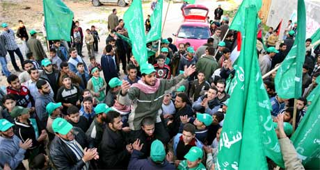 Hamas-tilhengere på Gaza-stripen i dag. (Foto: Scanpix / Reuters)