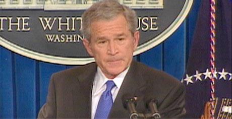 Bush holdt sin første pressekonferanse siden midt i desember. (Foto: Reuters-TV)