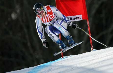 Kjetil Andre Aamodt på vei til raskeste til i utfordelen i Chamonix. (Foto: AFP/Scanpix)