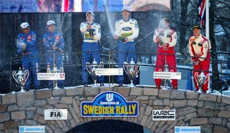Selve premieutdelingen i Rally Sverige er i Karlstad by. (Foto: (AP Photo/Scanpix/Marios Kopsidas)